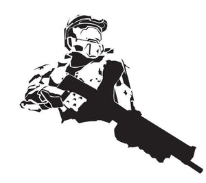 Halo Inspired Master Chief with Gun Silhouette Vinyl Decal