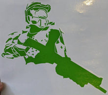 Load image into Gallery viewer, Halo Inspired Master Chief with Gun Silhouette Vinyl Decal
