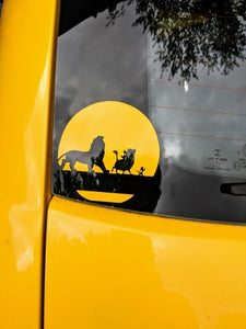 Disney's Lion King Inspired Simba, Timon, Pumbaa Silhouette with Sun/Moon Vinyl Decal for Car, Laptop, Home, Yeti and More!