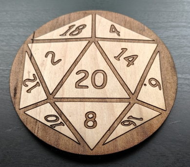 Dungeons and Dragons D&D D20 Laser Cut Wood Coaster
