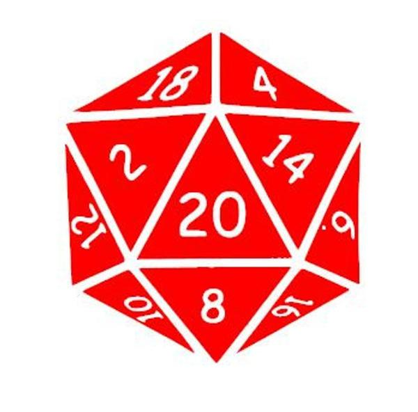 Dungeons and Dragons D&D Inspired D20 Vinyl Decal