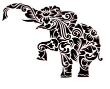 Load image into Gallery viewer, Zen Tangled/ Tribal Intricate Elephant with Flowers Vinyl Decal for Car, Home, Yeti