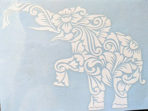 Zen Tangled/ Tribal Intricate Elephant with Flowers Vinyl Decal for Car, Home, Yeti
