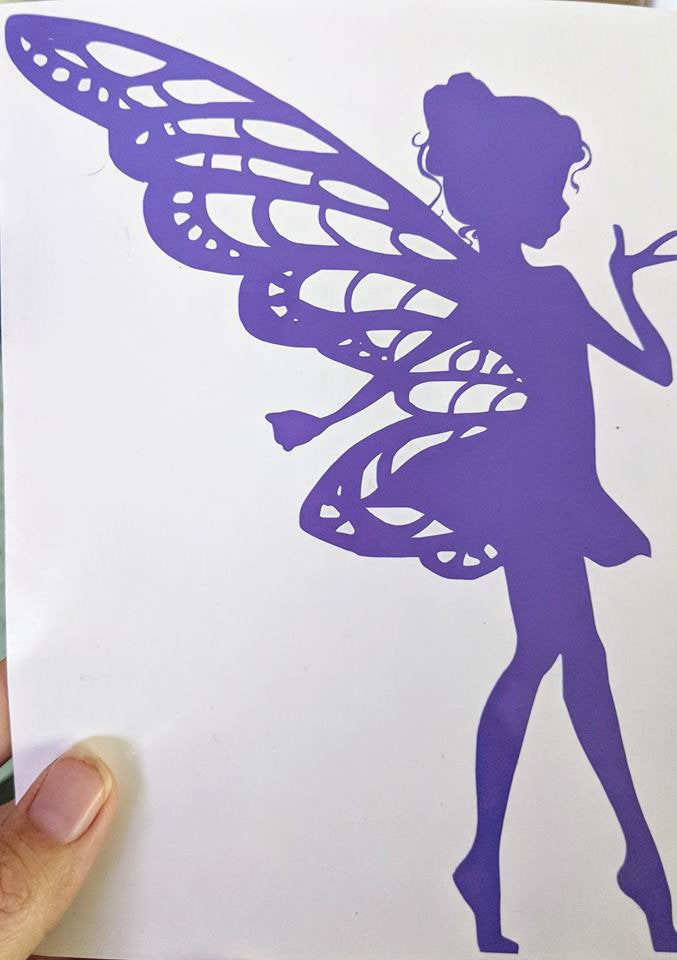 Lovely Tip Toeing Fairy w/ Delicate Laced Wings Vinyl Decal for Car, Home, Electronics