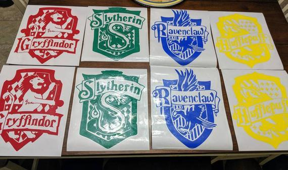 FULL SET Harry Potter Hogwarts House Crests Slytherin, Gryffindor, Hufflepuff, Ravenclaw Vinyl Decals