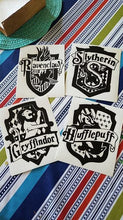 Load image into Gallery viewer, FULL SET Harry Potter Hogwarts House Crests Slytherin, Gryffindor, Hufflepuff, Ravenclaw Vinyl Decals