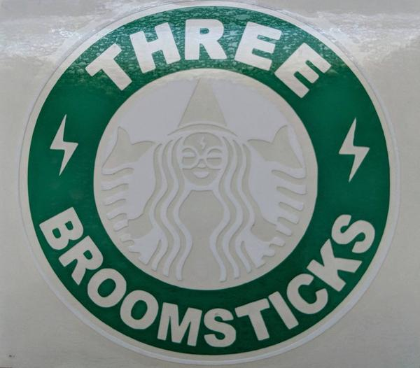 Harry Potter/Starbucks Inspired Three Broomsticks Logo Vinyl Decal for Car, Tumbler