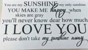 "Beautiful Scripted ""You Are My Sunshine"" Wall Decal for Bedroom, Nursery, Kids Room"
