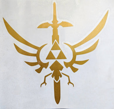 The Legend of Zelda ( Hylian Crest) Triforce w/ Master Sword Vinyl Decal for Car/Yeti/Electronics