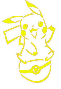 Pokemon Happy Pikachu on Pokeball Vinyl Decal for Car/Home/Children's Room/Yeti