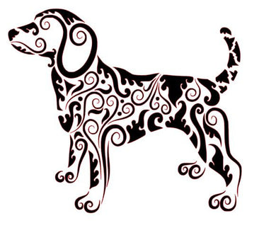 Zen Tangled Dog w/ Swirled Pattern Vinyl Decal for Car, Home, Laptop, Yeti