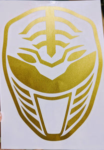 Mighty Morphin' Power Rangers White Ranger Helmet Vinyl Decal for Car, Home, Laptop, Yeti