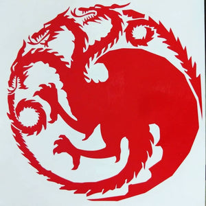 Game of Thrones Three Headed Dragon House Targaryen Sigil Vinyl Decal for Car, Home, Yeti, Laptop