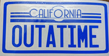 "Load image into Gallery viewer, Back to the Future Inspired Delorean License Plate ""OUTATIME"" Vinyl Decal for Car, Home, Electronics"