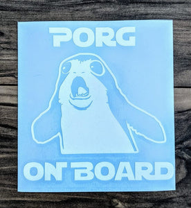 "Star Wars ""Porg On Board"" Baby On Board Vinyl Car Decal. Great Gift for Expecting Parents!"