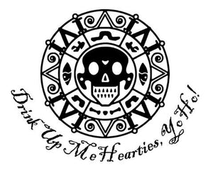 "Pirates of the Caribbean Inspired Coin with ""Drink Up Me Hearties"" Quote Vinyl Decal for Car, Home, Laptop, Yeti and More!"