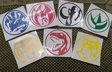 Original Mighty Morphin' Power Rangers Power Coin Vinyl Decals for Car, Yeti, Laptop