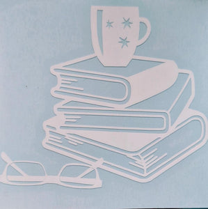 For Bookworms! Cup of Coffee on Stack of Books w/ Glasses Decal for Home, Car, Yeti, Laptop