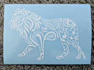 Intricate Tribal Lion w/ Bushy Mane and Flowers Decal for Car, Home, Laptop, Tumbler