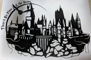 Hogwarts Castle Silhouette w/ Snitch and There's No Place Like Home Wall Decal