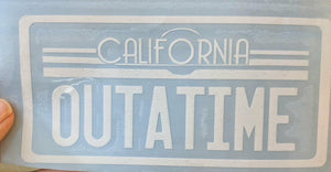"Back to the Future Inspired Delorean License Plate ""OUTATIME"" Vinyl Decal for Car, Home, Electronics"