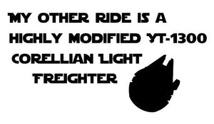 Star Wars My Other Ride Highly Mod. YT-1300 Corellian Light Freighter Millennium Falcon Car Decal