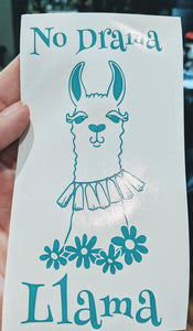 No Drama Llama w/ Pretty Llama and Flowers Vinyl Decal for Car, Home, Laptop, Yeti, Electronics