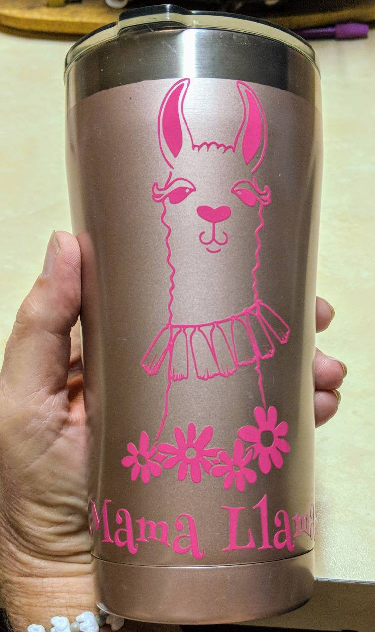 Mama Llama with Llama and Flowers Vinyl Decal for Car, Electronics, Home, Yeti