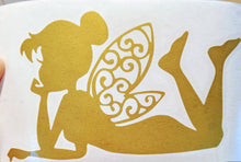 Load image into Gallery viewer, Peter Pan's Fairy Tinkerbell Laying Down w/ Intricate Wings Vinyl Decal for Car, Yeti, Electronics