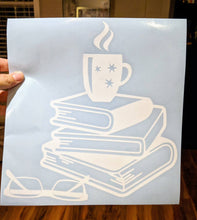 Load image into Gallery viewer, For Bookworms! Cup of Coffee on Stack of Books w/ Glasses Decal for Home, Car, Yeti, Laptop