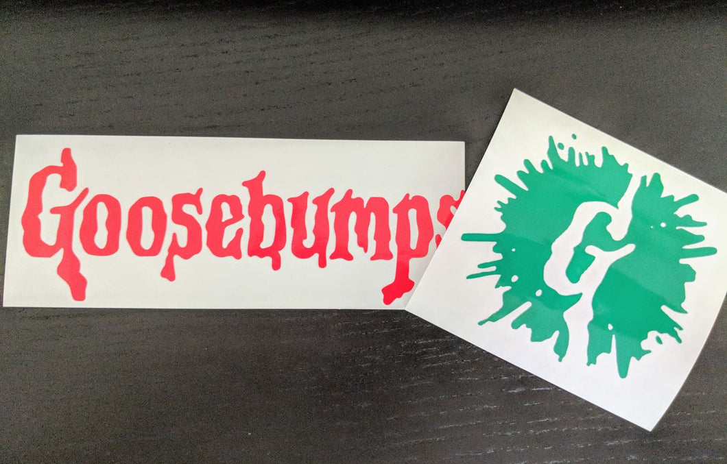 Full Goosebumps Logo/ Goosebumps G w/ Splatter Vinyl Decal for Car, Electronics, Home, Yeti