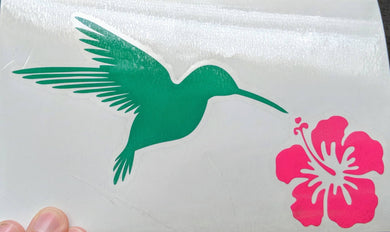 Two Toned Hummingbird w/ Hibiscus Flower Vinyl Decal for Car, Yeti, Home, Mother's Day Gift