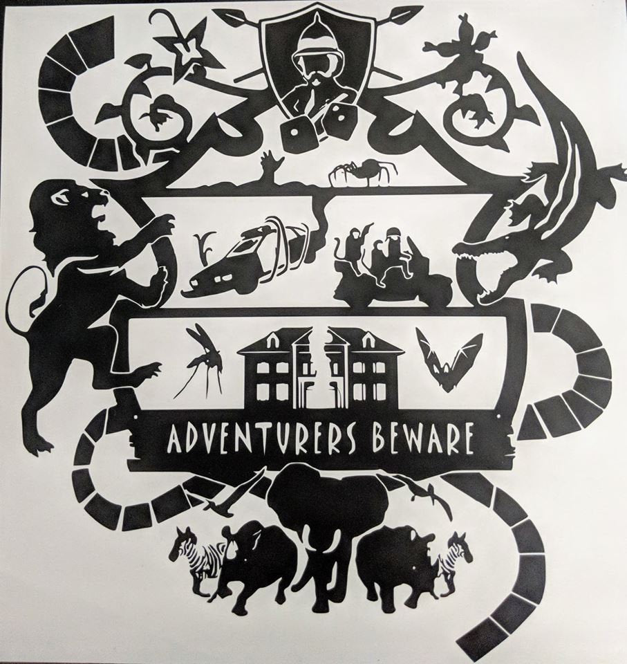 Adventure's Beware Jumanji Wall Vinyl Decal w/ Game Board, Animals