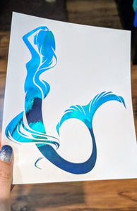 Color Changing HOLOGRAPHIC Mermaid w/ Flowing Hair Vinyl Decal for Car, Yeti, Home
