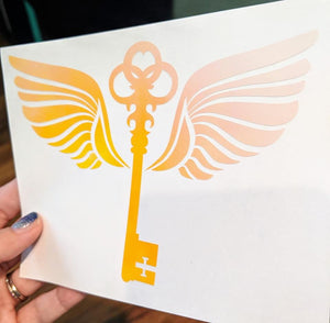 Harry Potter Inspired Key with Wings Vinyl Decal Available in HOLOGRAPHIC Vinyl!