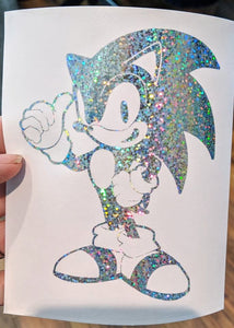 Sega's Sonic The Hedgehog in Starlight/ Rainbow Holographic Vinyl for Car/Home/Yeti