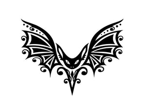 Gothic/Tribal Bat w/ Curvy Detailed Wings Vinyl Decal for Car, Home, Yeti, Laptop