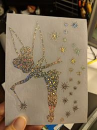 Tinkerbell w/ Wand and Stars Decal in Sparkly/Glittery Vinyl for Car, Home Decor, Yeti