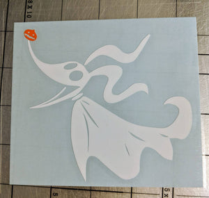 Nightmare Before Christmas Zero Ghost Dog Decal in White W/ Orange Pumpkin Nose for Car, Laptop