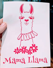 Load image into Gallery viewer, Mama Llama with Llama and Flowers Vinyl Decal for Car, Electronics, Home, Yeti
