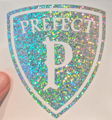Harry Potter Prefect Badge Decal in Rainbow Holographic Vinyl for Phone Case, Car, Laptop