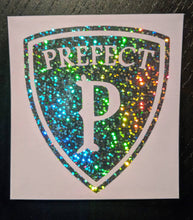 Load image into Gallery viewer, Harry Potter Prefect Badge Decal in Rainbow Holographic Vinyl for Phone Case, Car, Laptop