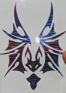 Intricate Tribal Bat Decal in Holographic/Glittery Vinyl for Car, Home, Laptop, Yeti