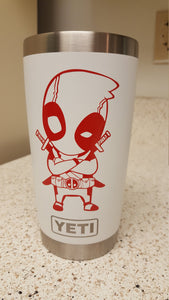 Chibi/ Cartoon Style Deadpool Vinyl Decal for Car, Home, Laptop, Yeti, Electronics and More!