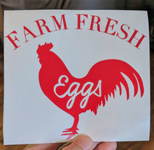 Load image into Gallery viewer, Farm Fresh Eggs Chicken Vinyl Decal for Car, Home, Yeti, Laptop