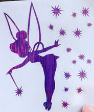 Load image into Gallery viewer, Tinkerbell w/ Wand and Stars Decal in Sparkly/Glittery Vinyl for Car, Home Decor, Yeti