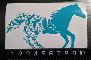 Running Horse Transitioning to Flock of Birds Vinyl Decal for Car, Home, Laptop, Yeti