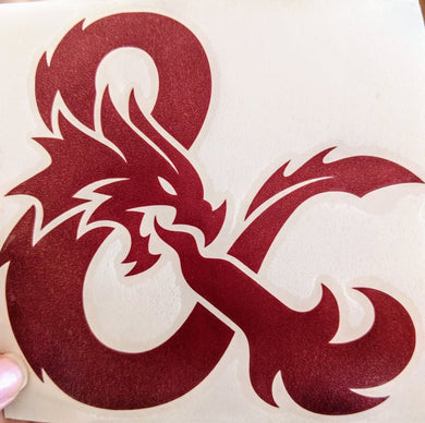 Dungeons and Dragons Inspired Ampersand with Dragon and Flames Vinyl Decal