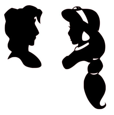 Disney Inspired Aladdin and Jasmine Silhouette Vinyl Decal for Car, Home, Laptop, Yeti