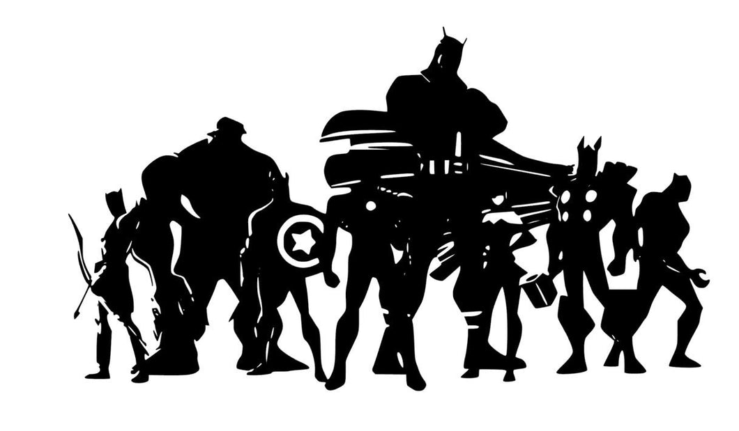 Avengers Superhero Decal w/ Hulk, Thor, Iron Man, Captain America, etc. Vinyl Decal for Car, Home, Laptop